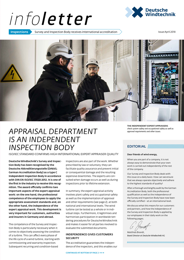 April 2018 - Appraisal department is an independent inspection body